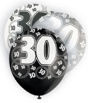 Black Glitz Age 30 Latex Balloons (6)
